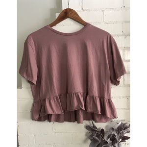 Wild Fable Blush Pink Cropped Ruffle